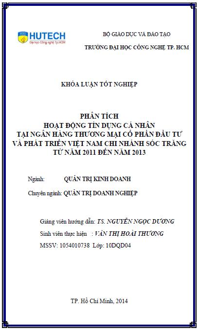 Phân tích hoạt động tín dụng cá nhân BIDV Sóc Trăng giai đoạn 2011-2013