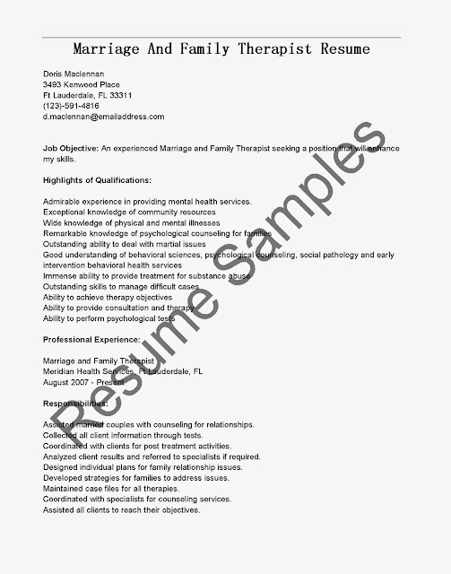 Great Sample Resume: Resume Samples: Marriage And Family Therapist ...