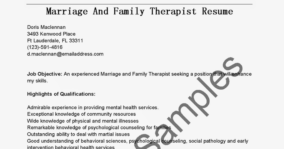 resume samples  marriage and family therapist resume