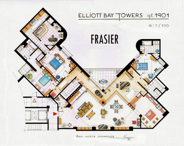 Plano del apartamento de Frasier Crane. Frasier. Planos de apartamentos de series de televisión