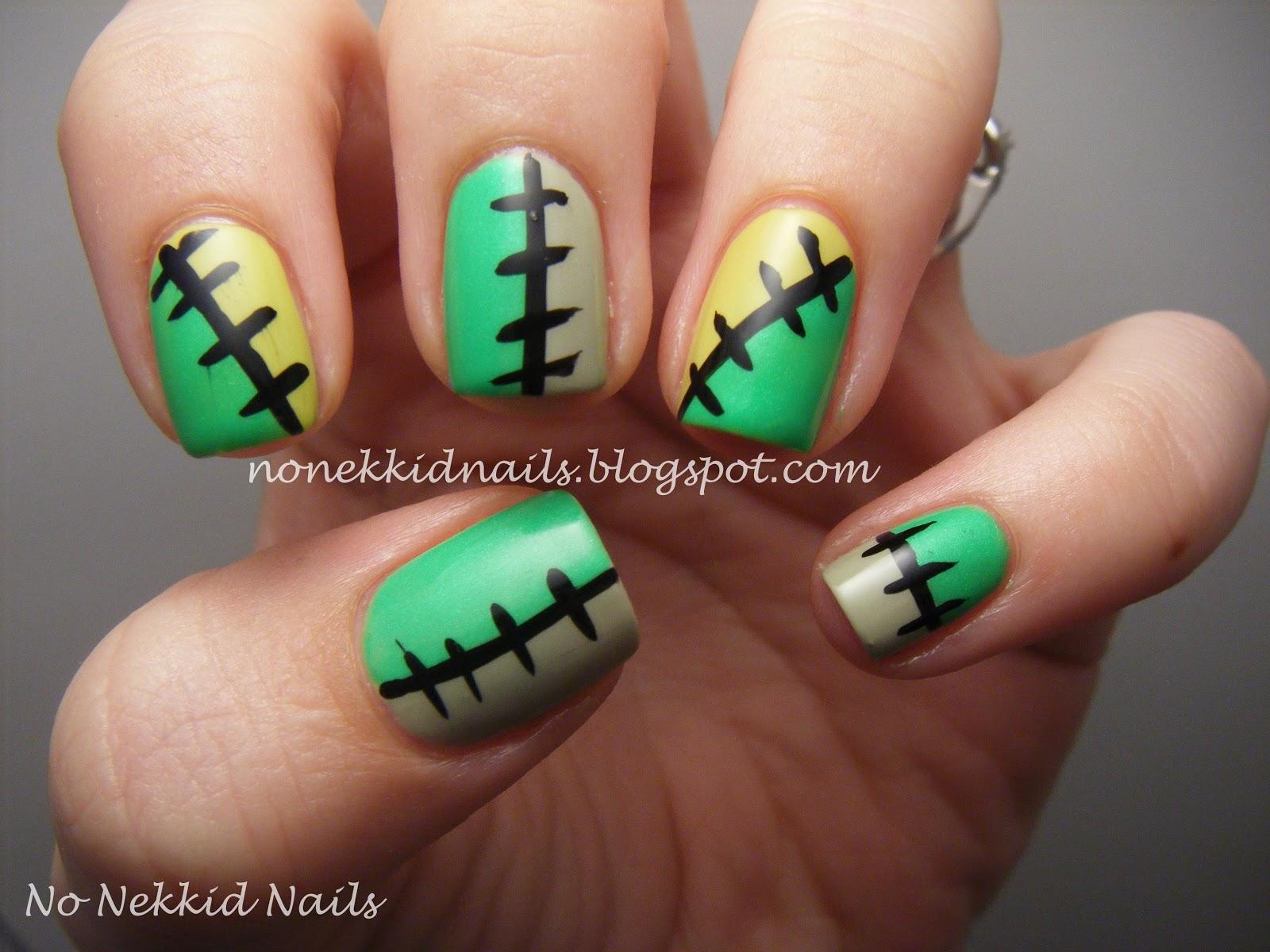 no nekkid nails: green halloween stitches