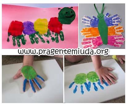 atividade para primavera carimbo das mãos