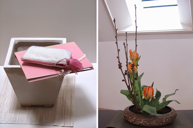 left: stil life with pink folder, right: first Kado-arrangement