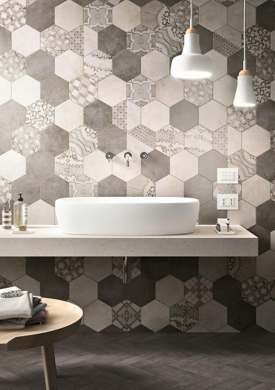 4bildcasa effetto cemento cotto clays di marazzi - Piastrelle esagonali gres porcellanato ...