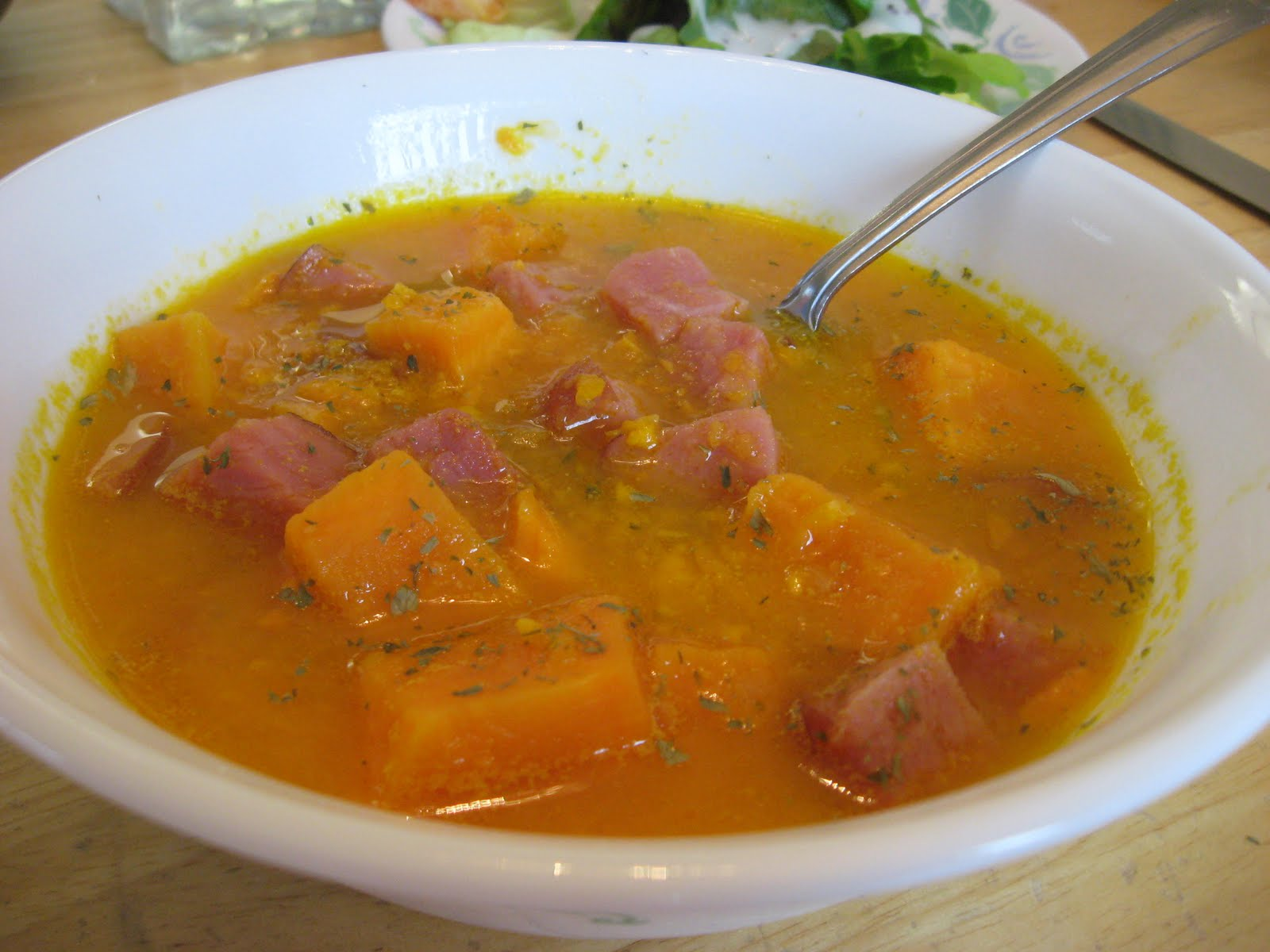 Yummy to My Tummy: Yam and Ham Soup with Ginger