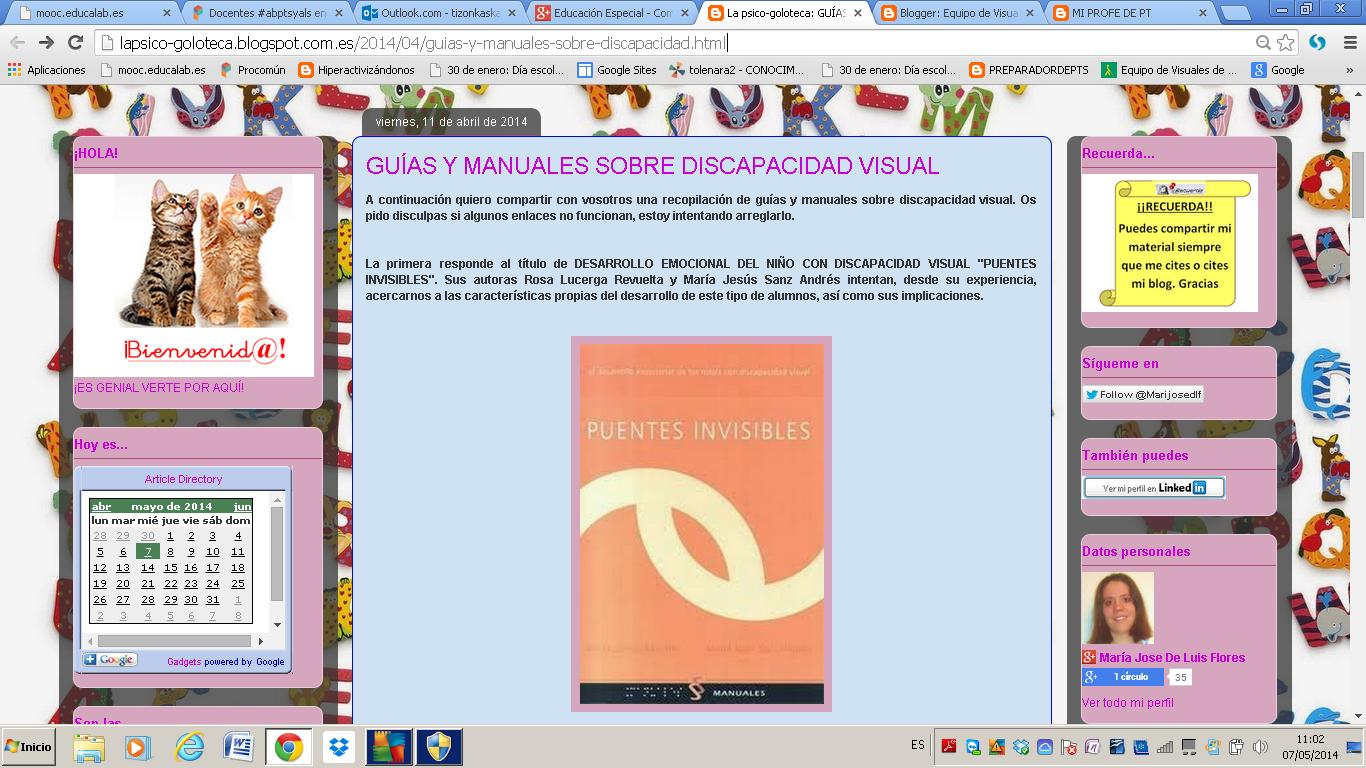 La imagen muestra la página web con la entrada sobre guías de discapacidad visual