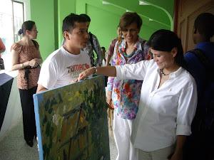 Leyla Rojas Molano, ex viceministra  del agua y saneamiento con el maestro Marcos Unigarro