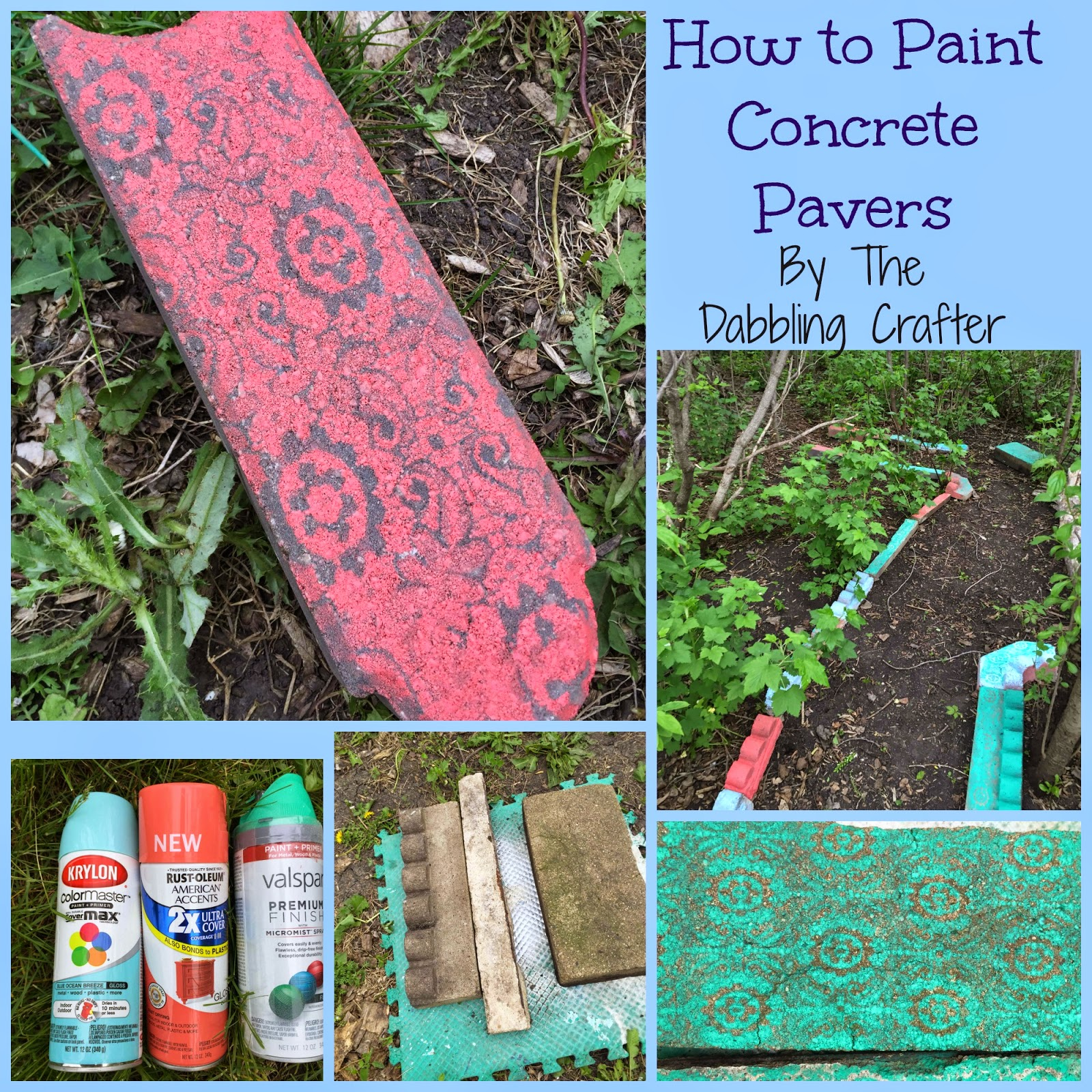 The dabbling crafter diy sunday spray painted pavers for How to clean dirty concrete