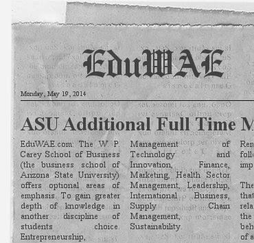 ASU Additional Full Time MBA Specialization