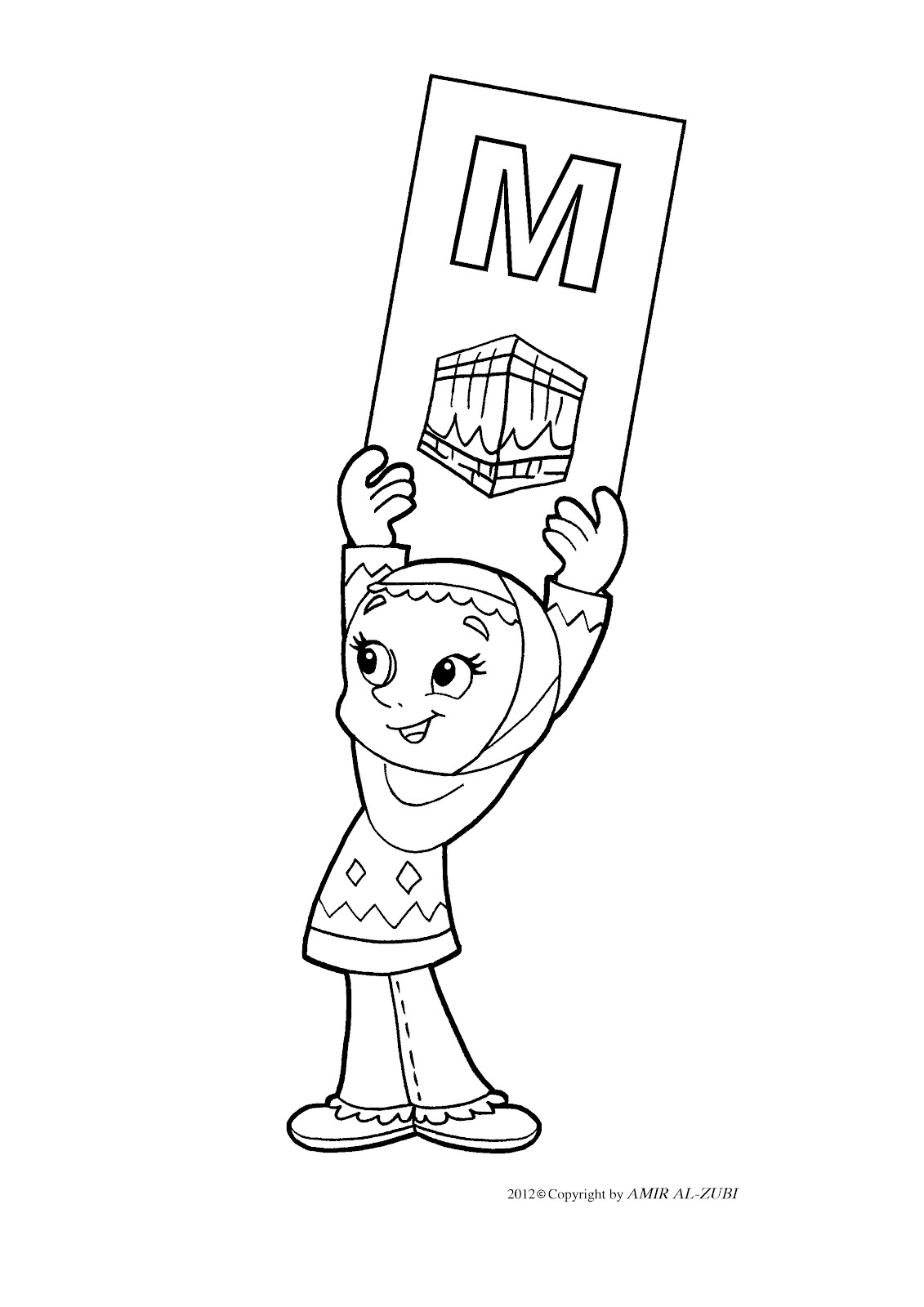 new muslim kids m coloring pages
