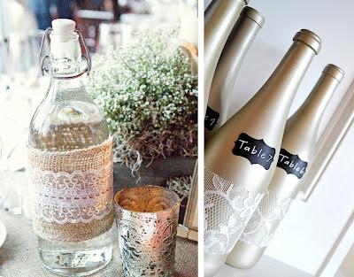 Decorar garrafas de vidro com renda