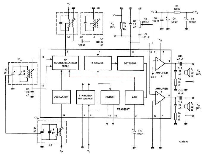circuit diagram  am radio receiver using by tea5551t