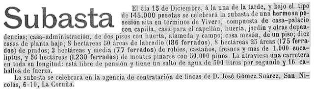 Más eucaliptos,  más   coníferas. Consecuencias de la sed de beneficio$ en la húmeda Galicia. El sector forestal. 1913_Subasta+de+un+pazo+en+Viveiro+con+eucaliptos