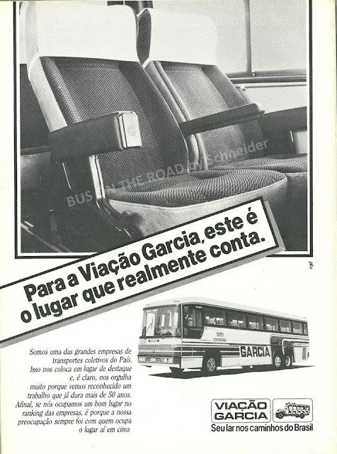 Propaganda da Viação Garcia em 1985. Valorização do passageiro na campanha institucional.