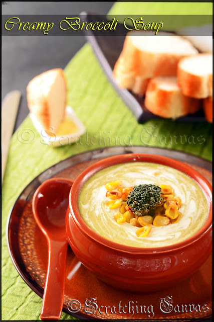 Creamy Broccoli Soup with Roasted Corn