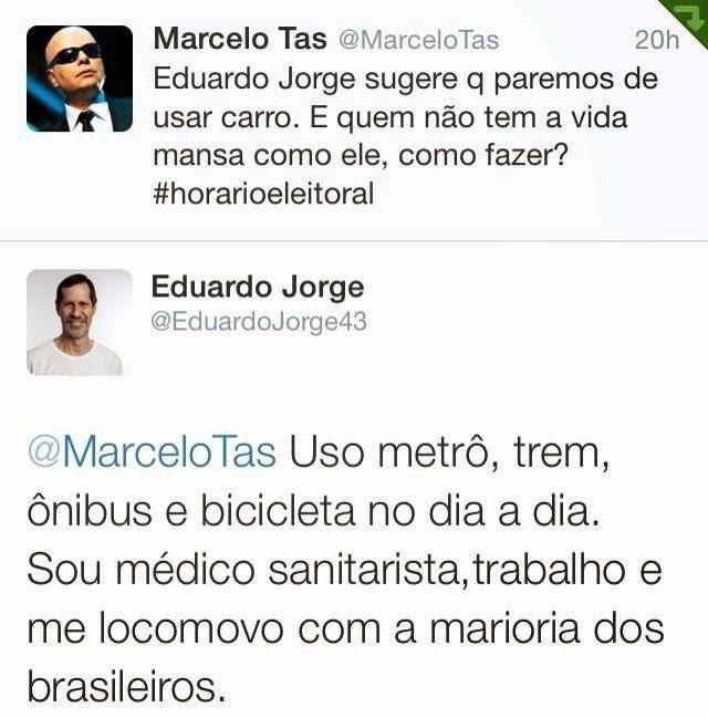 Eduardo Jorge deixa  Marcelo Tas desbundado no Twitter