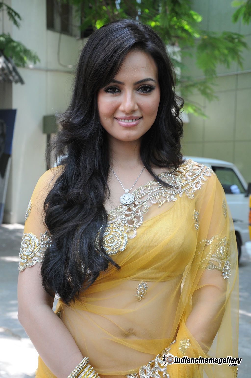 Big Boss Contestant Sana Khan recently spotted in a Transparent Yellow ...