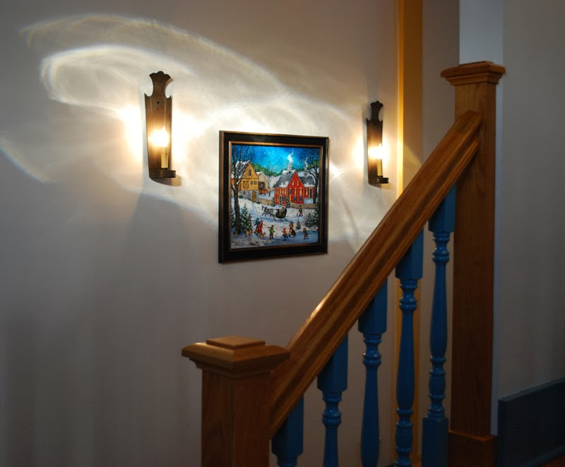 Colonial blue stairway - front hall