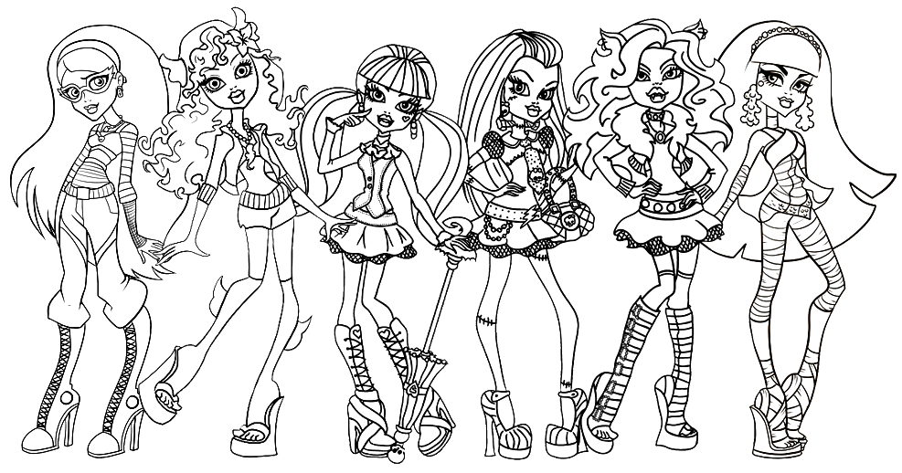 free printable monster high coloring pages ghoulia lagoona draculaura frankie clawdeen and cleo