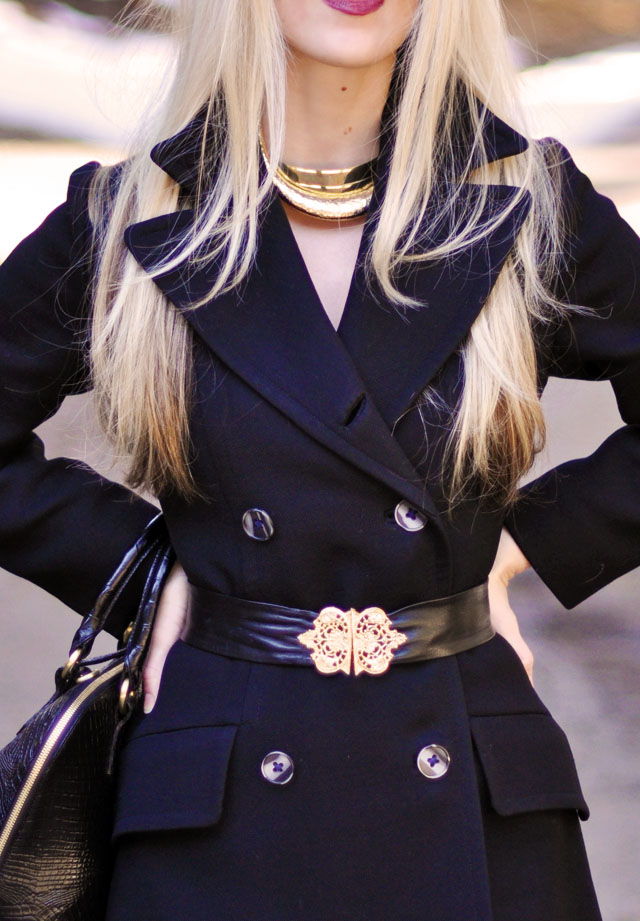 vintage coat, black leather belt with gold clasp buckle