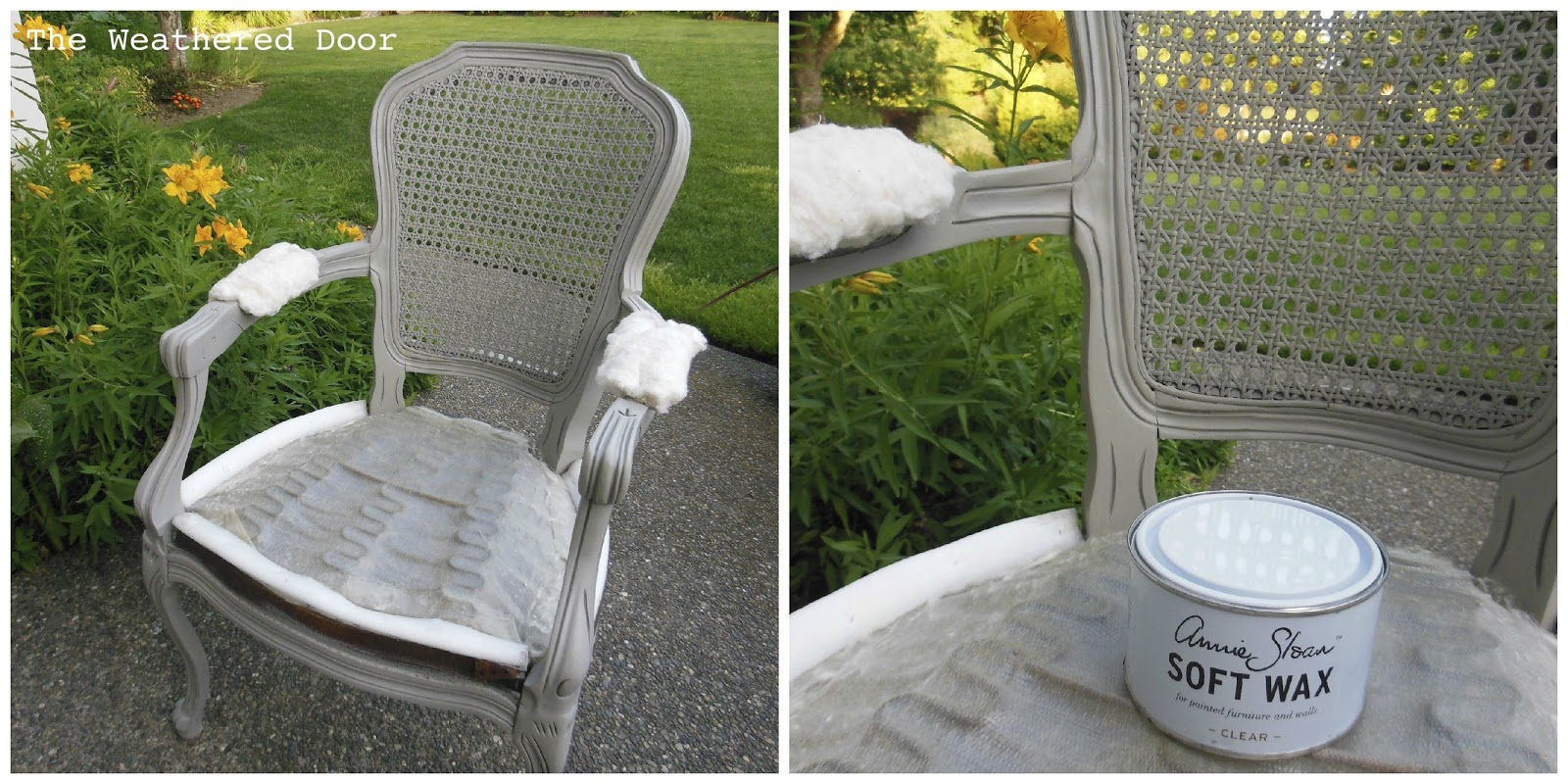How to reupholster a louis chair - For The Fabric I Used A Neutral Tan Cream Colored Fabric I Got At A Garage Sale For 1 And There Is A Ton Of It We Laid Out The Old Fabric And