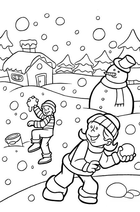 اطفال يلعبون رمي كرات الثلج في صورة للتلوين