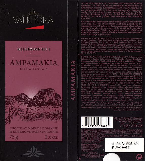 tablette de chocolat noir dégustation valrhona noir de domaine ampamakia madagascar 2011