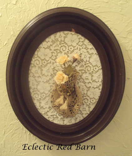 Vintage Frame with Crocheted Purse as a Vase