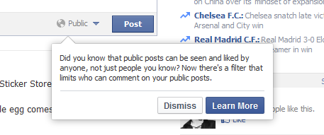 Facebook Popup: Did you know that public posts can be seen and liked by anyone, not just people you know? Now there's a filter that limits who can comment on your public posts