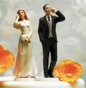 Wedding figures talking on the phone