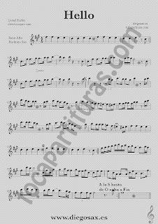 Partitura de Hello para Saxofón Alto, Barítono y Trompa Lionel Richie Sheet Music Alto and Baritone Saxophone Music Score Hello
