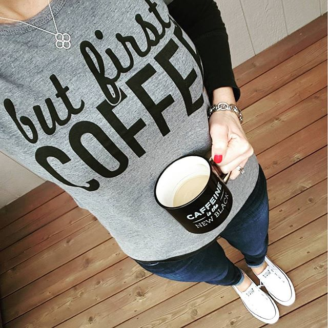 """Fifth Sun """"But First Coffee"""" Tee - only $13! // American Eagle Long Sleeve Tee (similar for $9) // Joe's Jeans // Converse Tennis Shoes // Saks Off 5th Link Bracelet - only $10, regular $25! // Threshold Mug"""