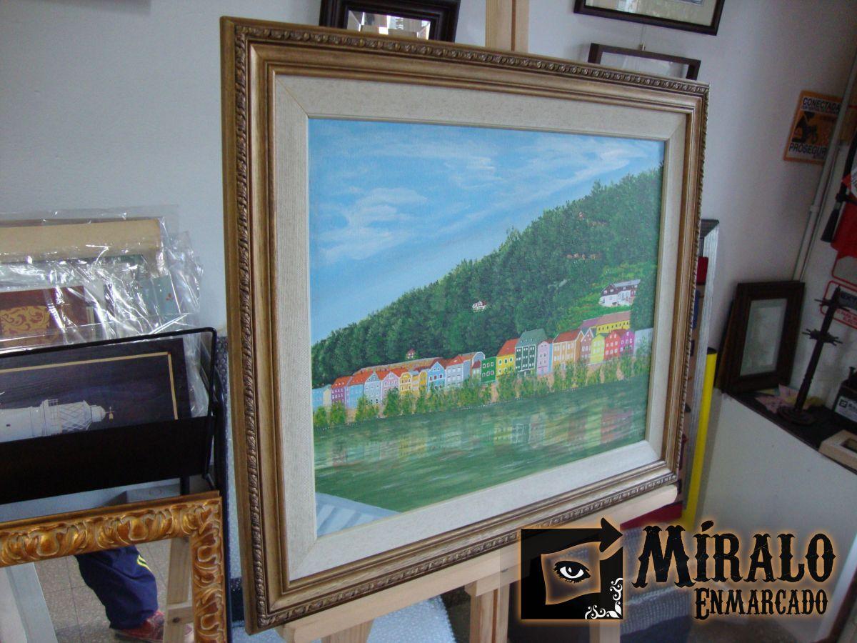 Enmarcado de pinturas doble marco clasico grabado y for Marcos para pinturas