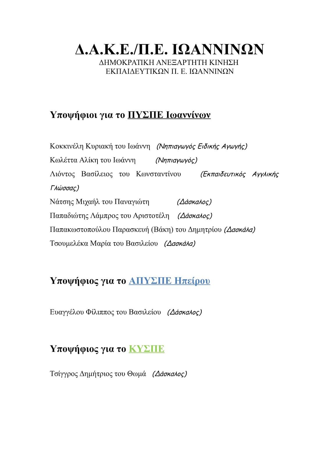 ΥΠΟΨΗΦΙΟΙ της ΔΑΚΕ/ΠΕ ΙΩΑΝΝΙΝΩΝ για το ΠΥΣΠΕ Ιωαννίνων, ΑΠΥΣΠΕ Ηπείρου & ΚΥΣΠΕ
