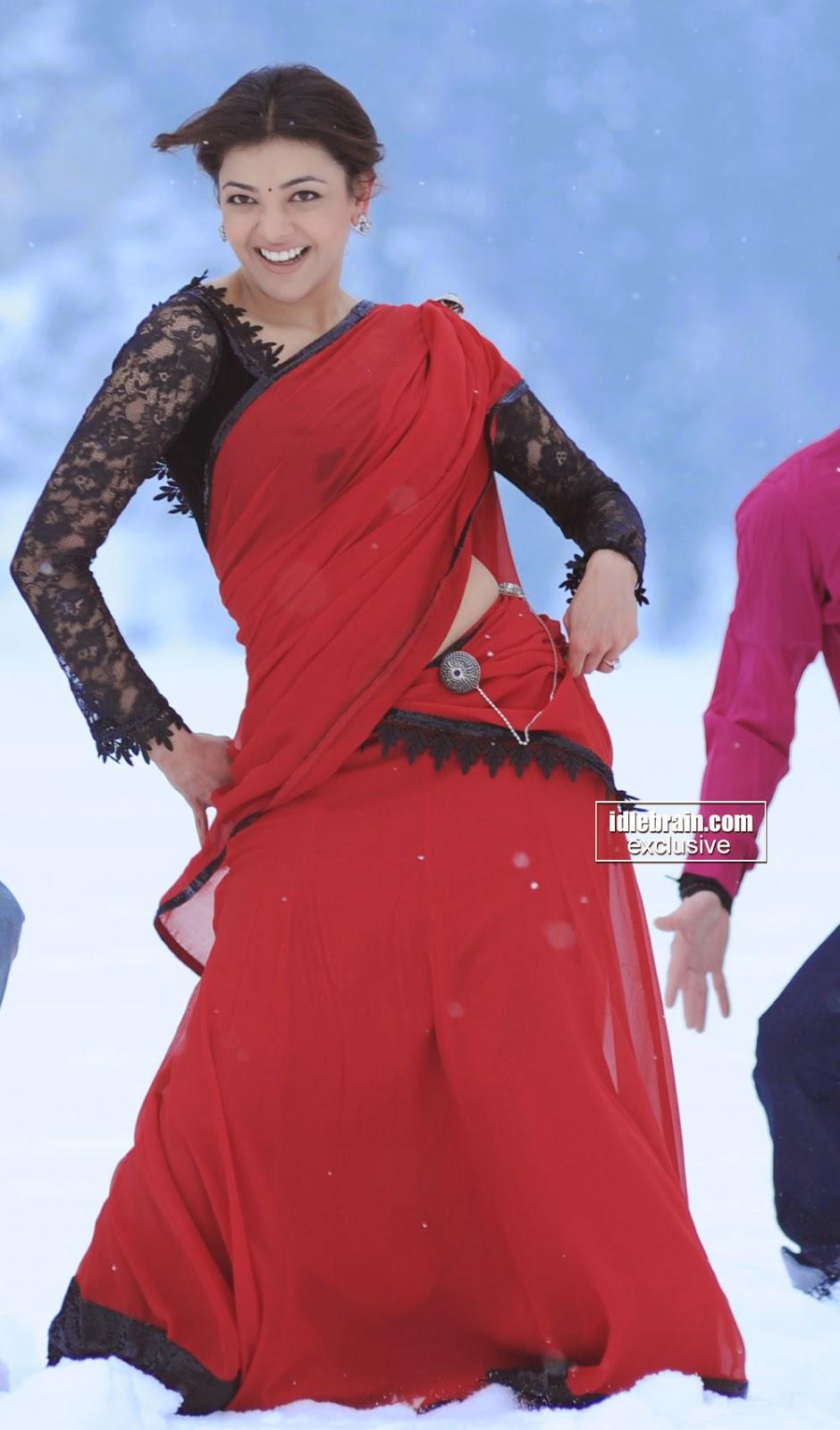 Kajal Agarwal red saree