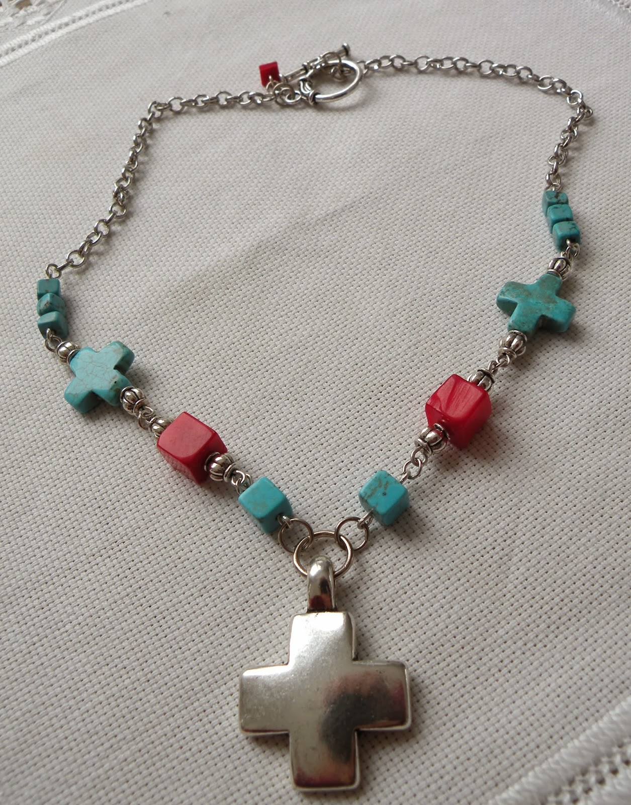 Art for life turquoise and red solid cross necklace for Jewelry just for fun
