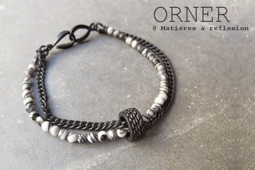 bracelet homme Orner paris - agate et chaine