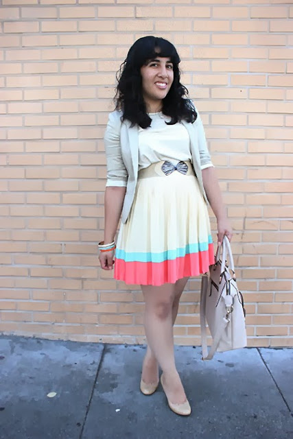 Mint, Coral, Beige Pleated Skirt