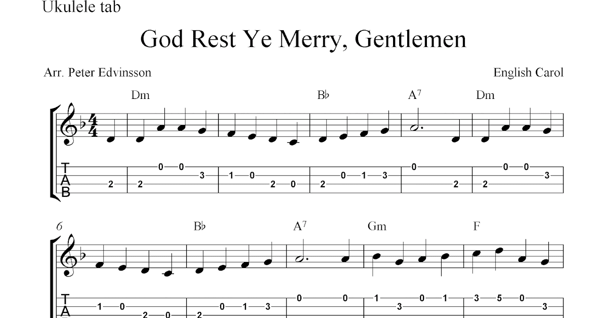 God Rest Ye Merry, Gentlemen, free Christmas ukulele tab sheet music