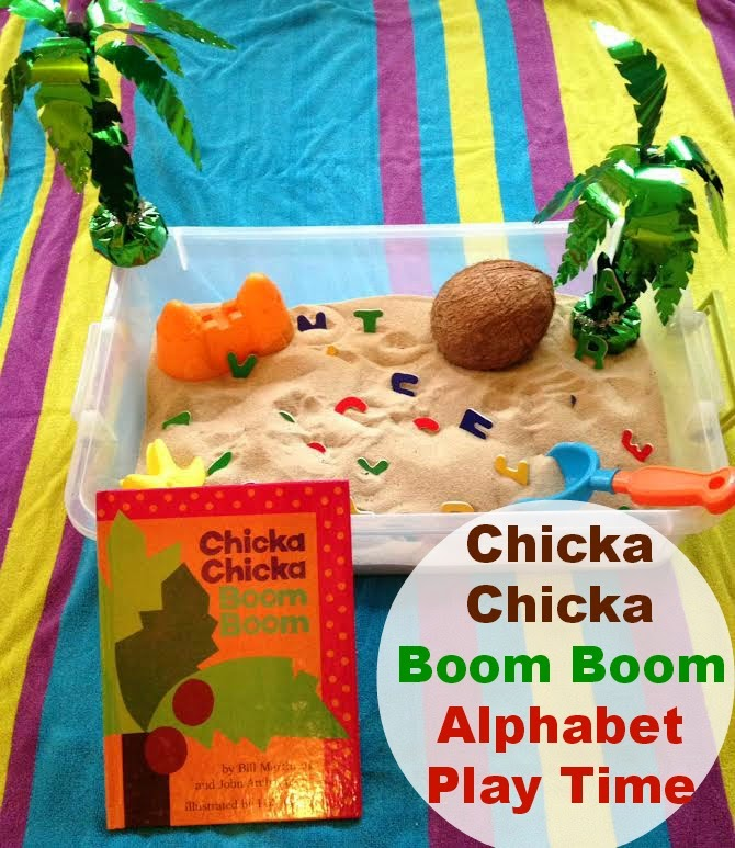 Chicka Chicka Boom Boom sensory play, alphabet sensory bin, book activities, alphabet activities, Chicka Chicka Boom Boom Activity, Sensory bins, Sensory Play