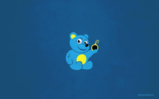 Evil cartoon tattooed teddy bear wallpaper