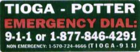 Tioga-Potter Emergency Numbers