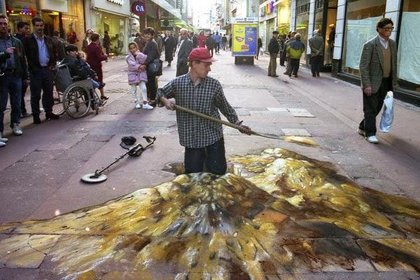 julian beever terminando su pintura