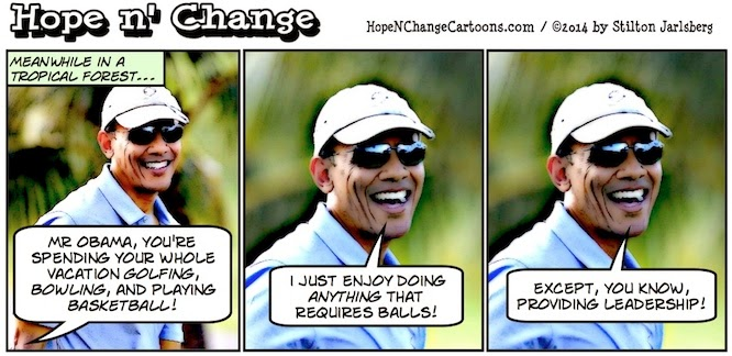 obama, obama jokes, political, humor, cartoon, conservative, hope n' change, hope and change, stilton jarlsberg, hawaii, vacation, sports, espn, daily briefing