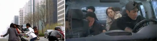 Pedestrians scatter as a car flies over the road. / Cha Seung Won as Seo Pan Suk, pursues in a minivan while the team is thrown around behind him.