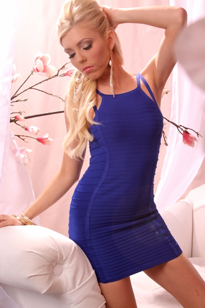 ROYAL BLUE SEXY STRETCHY RIBBED DOUBLE STRAP BANDAGE MINI DRESS