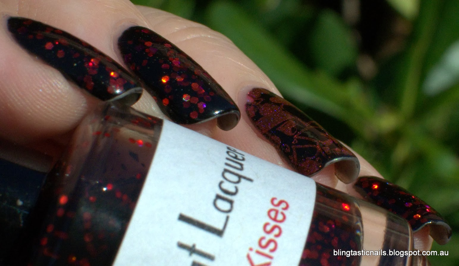 Valentines Day Black Cat Lacquer Bloody Kisses with Lilypad Lacquer Pink Flamingo stamping