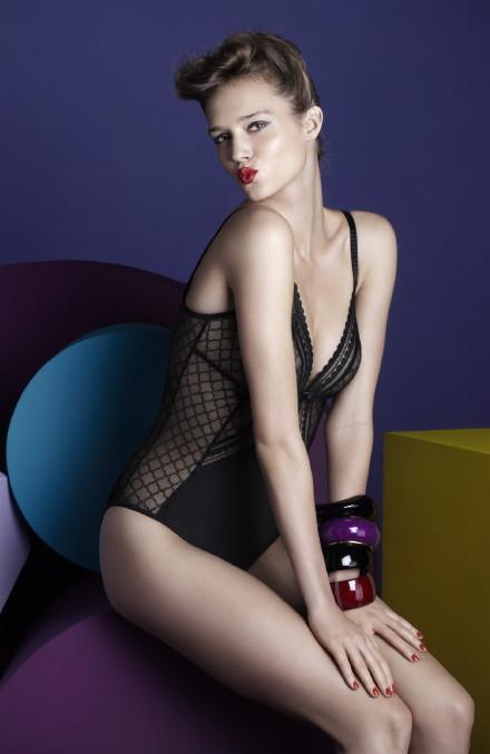 bodysuit, black lingerie