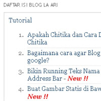 Cara membuat daftar isi otomatis blogger