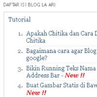 Cara membuat daftar isi otomatis blogger